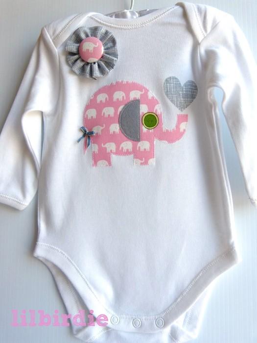 Wonderful Baby Girls Pink Elephant Baby Onesie Newborn gift   Li'l Birdie  JA72