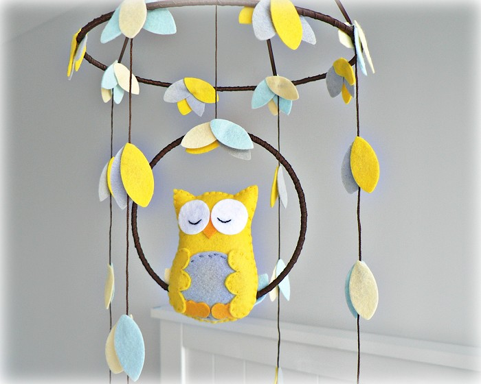 Custom Woodland Owl Mobile Baby Nursery Decor