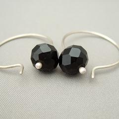 Black Opaque Czech Glass Sterling Silver Modern Contemporary Hoop Earrings