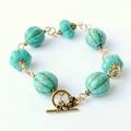 Turquoise and Gold Exotic Handmade Beaded Bracelet