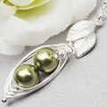 Two Peas In A Pod Necklace Sterling Silver ( Choose Your Colours),Petite Pea pod