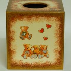 Tissue box, teddy bears, nursery, tissues, hand-painted