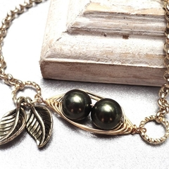 2 Peas In A Pod Gold Bracelet Choose Your Colour Pearls