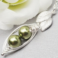 Two Petite Peas In A Pod Necklace Sterling Silver ( Choose Your Colours)