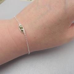 Petite Sweet Peas In A Pod Bracelet Swarovski Pearl  Layering Bracelet