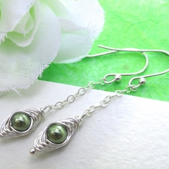 Petite Peas In A Pod Drop Earrings Sterling Silver ( Pick Your Colours)