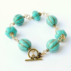Turquoise and Gold Exotic Handmade Beaded Bracelet
