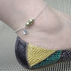Personalized Silver Sweet Peas In A Pod Anklet - Ideal Mother Gift Beach Wedding