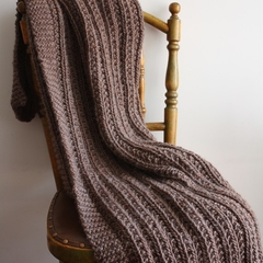 Earth - Pure Wool Hand Knitted Throw Rug Afghan