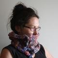 Rainbow Hand Spun Hand Knitted Wool Scarflette Cowl