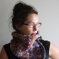 Rainbow Hand Spun Hand Knitted Wool Scarflette Cowl