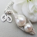 Mother and Child  Peas in a Pod Necklace Sterling Silver (pick your colours)