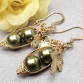 Two  Peas In A Pod Gold Earrings Choose Your Colour