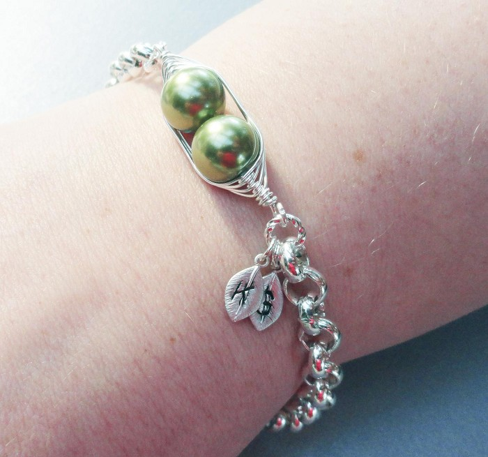 Two Peas In A Pod Silver Bracelet Personalized Hand Stamped
