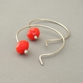 Flame Red Opaque Czech Glass Sterling Silver Modern Contemporary Hoop Earrings