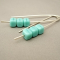 Seafoam Green Sterling Silver Cube Czech Glass Earrings. Modern Dangle Earrings.