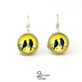 Black Birds & Yellow Silver Earrings