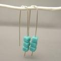 Seafoam Green Sterling Silver Cube Czech Glass Earrings. Modern Dangle Earrings.