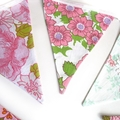 Vintage Bunting Retro Pink Floral & Doily Lace Flags. Wall hanging, Party Decor
