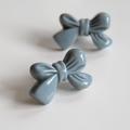 Blue Grey Bow Tie Earrings