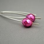 Fuchsia Pink Czech Glass Sterling Silver Modern Contemporary Drop Earrings