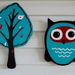 Owl and a Tree, Wooden art Room Decor, turquoise, red and brown. Free shipping!
