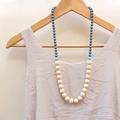 75cm Graded Necklace - Grey, Sky Blue & Linen