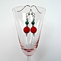 Red coral Turquoise and Sterling Silver earrings