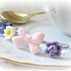 Bo Peep Children's Ring Set. Flower Lemon Pink Yellow Purple Trio Bow Girls