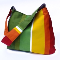 Green, Yellow, Orange and Red Coloured Striped Shoulder Bag