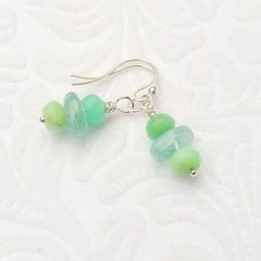 Aquamarine Chrysoprase and Sterling Silver Earrings