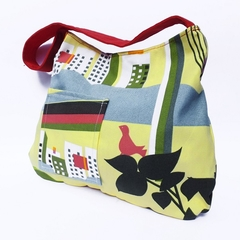 Yellow Bird Print Shoulder Bag