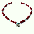 Hilltribe Silver Coral and Turquoise Necklace