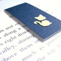 Magnetic bookmark (small) - navy blue with yellow cat
