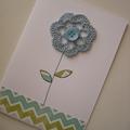 Blue Crochet Flower Card
