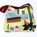 Yellow Bird Print Shoulder Bag