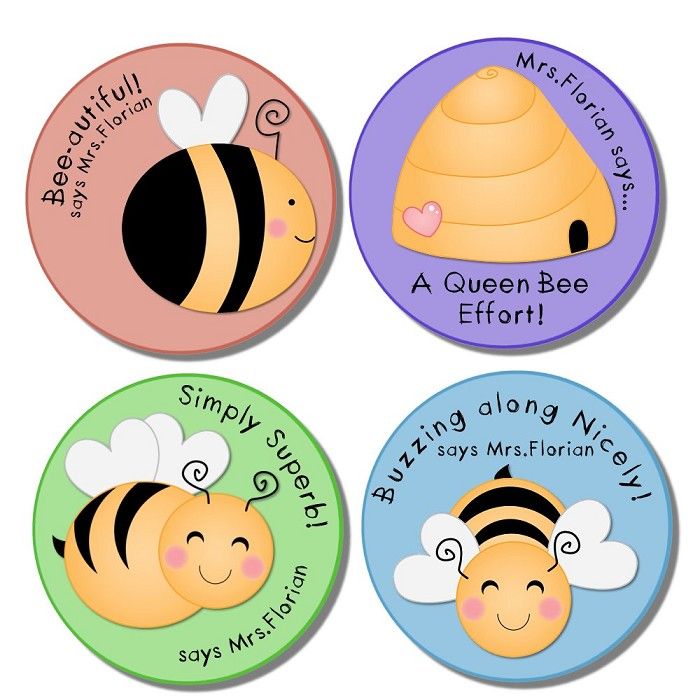 Busy bee personalised merit stickers for teachers bag of 40
