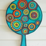One Wooden Tree , Wooden art Room Decor,turquoise, red, orange, Free Shipping