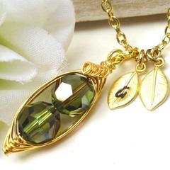 Personalized Swarovski Crystal Peas In A Pod Necklace - Peridot Bronze Shade
