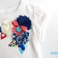 Shabby Rose Nautical Style Appliqued  Girls Tshirt Size 1 - 6