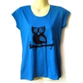 Blue Owl screen print Tshirt - Ladies sizes 8 to 18 avail - woodlands, kitsch