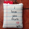 Small microwave-able pocket heat pack with hand stitched note for mum
