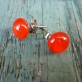 Red Fused Glass Mini Stud Earrings