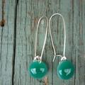 Emerald Sterling Silver  Fused Glass Long Danglies Earrings