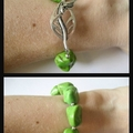 Green Turquoise & Sterling Silver Bead Bracelet with Leaf clasp