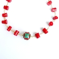 Bamboo Coral and Nepal Resin and Turquoise Focal Bead Necklace