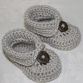 Crocheted Boot Style Booties | Made to Order | NB-12M | Custom Colour