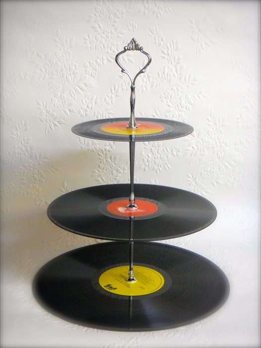 3 Tier Record Cupcake Stand Vinyl Cake Plates Rockabilly 50s 60s 70s 80s