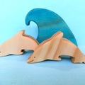Wooden Dolphins and Wave Set