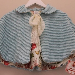 VINTAGE chenille BOLERO for girl AQUA and LACE size 3